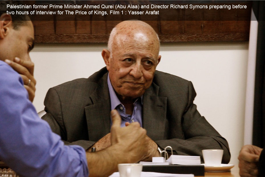Palestinian former Prime Minister Ahmed Qurei (Abu Alaa) and Director Richard Symons preparing before two hours of interview for The Price of Kings, Film 1 : Yasser Arafat