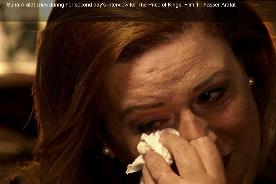 Suha Arafat cries during her second day's interview for The Price of Kings, Film 1 : Yasser Arafat
