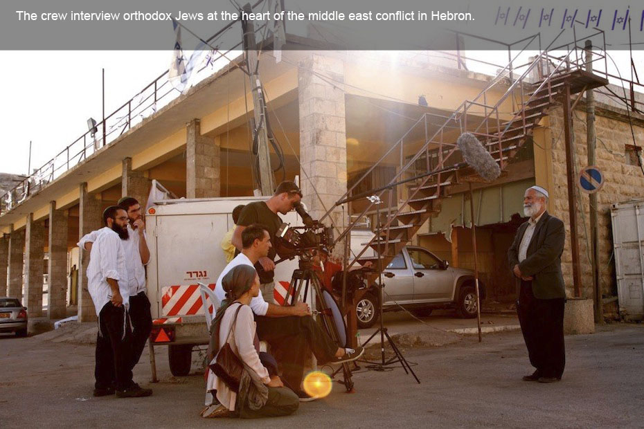 Hebron, at the heart of the middle east conflict. The crew interview orthodox Jews.