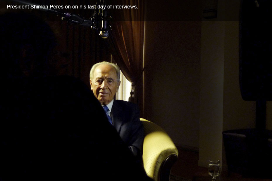 President Shimon Peres on on his last day of interviews. No tears. Yet.